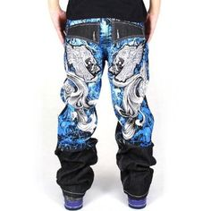 7bf772c159c0 Generic Men s Hip Hop Back Graffiti Print Unwashed Baggy Jeans Denim 30  Black
