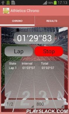 """Athletics StopWatch  Android App - playslack.com ,  """"Stopwatch Athletics"""" is an App. Designed to keep track of a athletics runner. Insert and select athletes, type track (indoor/outdoor) & proof type (Training/Competition)Join a history of each result and we can compare the times in different modalities.Insert, delete and modify times manually.Share times with others via email.Tablet Support"""