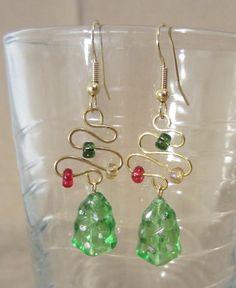 Czech Glass Christmas Tree & Gold Abstract Christmas Tree Dangle Earrings