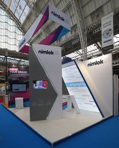 This is an example of how angled architecture can be used in exhibition stand design. We created a stand that looked contemporary and polished. It also incorporated, audio visual displays, digital gamification for lead capture and used an element of hired architecture.