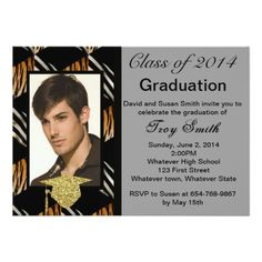 Blue Ribbon Graduation Invitation Graduation invitations