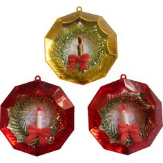 Vintage Jewelbrite Diorama Wreath Candle Christmas Tree Ornaments 3 Plastic - found at www.rubylane.com @rubylanecom