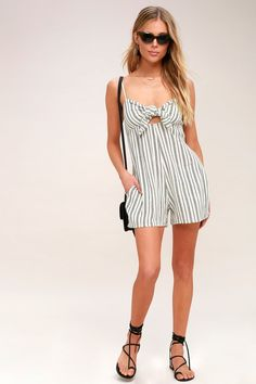 When you're craving something sassy, look no further than the Twist and Jump Black and Ivory Striped Tie-Front Romper! Tie-front bodice and shorts. Rompers Dressy, Cute Rompers, Jumpsuits For Women, Tie, Sexy, How To Wear, Billabong, Black, Ivory