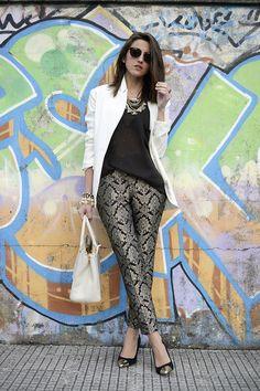 classic pants, metallic shoe, blazer