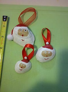 Set of 3 Handpainted Whimsical Christmas Santa Claus Sea Shells Ornament Beach