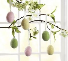 Easter. Hanging sugared eggs.