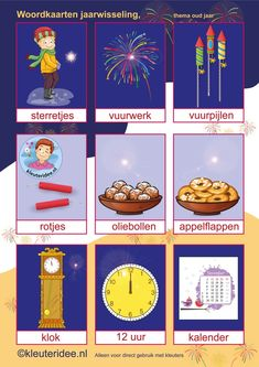Word cards for theme New Year for preschool children, kleuteridee. - Word cards for theme New Year for toddlers, kleuteridee.