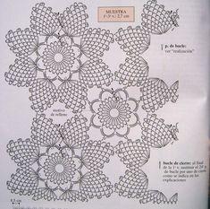 Crochet Knitting Handicraft: Very gentle blanket of flowers in pastel colors Crochet Doily Rug, Crochet Dollies, Crochet Motifs, Crochet Tablecloth, Crochet Home, Thread Crochet, Irish Crochet, Crochet Flowers, Crochet Stitches