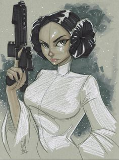Star Wars - Princess Leia by Tom Hodges Star Wars Fan Art, Star Wars Mädchen, Nave Star Wars, Leia Star Wars, Star Wars Girls, Luke Skywalker, Star Wars Characters, Female Characters, Comic Books Art