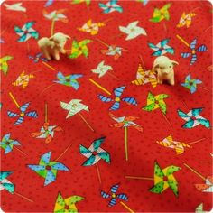 Fairy Tale ♥ 49x55cm Fun Pinwheels in Candy Apple Red Cotton Fat Quarter Fabric