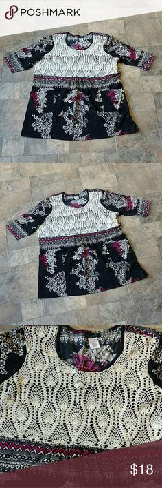 """Ulla Popken plus size boho hippie tunic top * Ulla Popken * Great condition * Plus size * Shaped fit * Size 24/26 * 100% cotton * Crochet front panel * Two pockets on front * Black with pink & off white paisley floral design * Measures 29.5"""" armpit to armpit * Length is 34""""  Any questions, just ask!  Any questions, just ask! Ulla Popken Tops"""