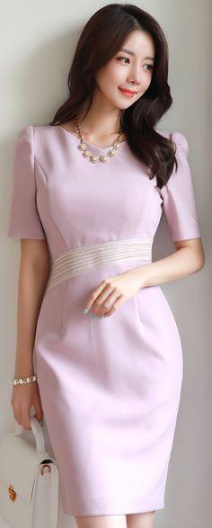 StyleOnme_Stitch Line Detail Slim Fit Dress #pink #elegant #koreanfashion #kstyle #kfashion #summerlook #feminine #dress