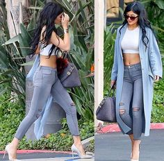 Kylie Jenner  out and about in a ripped grey jeans, silver pumps and blue wool coat. 💥 Rocking blocksize sunglasses 🕶and golden bracelets. Shop her look below 🛍 or subscribe to our weekly newsletter  to receive updates on her latest styles.