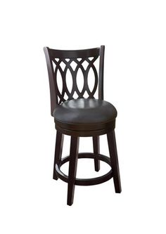 Contemporary Brown Bonded Leather Wood Cross Back 24 Swivel Barstool