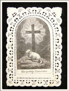 """ANTIQUE 1874's FRENCH """"AGNUS DEI - LAMB OF GOD"""" CANIVET LACE HOLY CARD !!!"""
