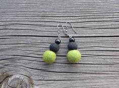 Felted earrings, 19, felt balls, black shiny beads, black wool, green wool, classic earrings, light earrings, smart jewelry, gift for her