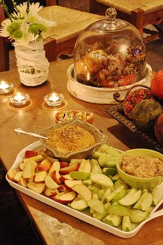 Pumpkin Dip Combine 1 (8 ounce) package cream cheese, softened & 2 C powdered sugar until smooth, Mix in 1 (15 ounce) can solid pack pumpkin, 1 Tbsp ground cinnamon, 1 Tbsp pumpkin pie spice, & 1 tsp frozen orange juice concentrate. Top with Chopped pecans.Chill until ready to serve.