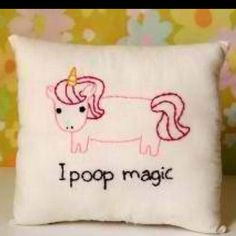 My sister and I were just talking today about how poop automatically makes people turn immature...Case in point, this pillow XD