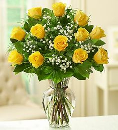 Brighten any celebration with a beautiful and brilliant bouquet of exquisite long-stem yellow roses.