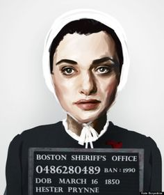 "Fascinating Mug Shots Of Characters From Banned Books Hester Prynne from Nathaniel Hawthorne's ""The Scarlet Letter"""
