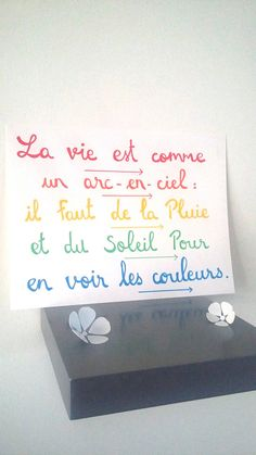 affiche citation La vie est comme un arc-en-ciel – Best Pins Live Miracle Morning, French Quotes, Visual Statements, Learn French, Positive Attitude, Positive Affirmations, Mini Albums, Comme, Bullet Journal