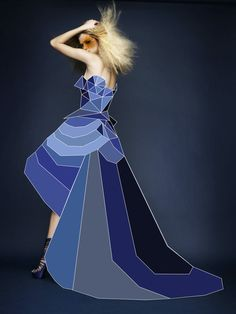 I like the look of this design as the use of different colours gives a move 3D affect to the dress.