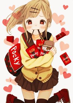 ♥ P O C K Y!! ♥ delicous japanese snack~☆anime art. . .school girl. . .kawaii
