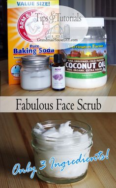 DIY Fabulous Face Scrub recipe for incredibly smooth skin! A wonderful face scrub wash recipe made out of baking soda, coconut oil and any essential oils you would like to add! A moisturizer and scrub all in one! Baking Soda Face Scrub, Baking Soda Shampoo, Baking Soda Exfoliant, Baking Soda Coconut Oil, Baking Soda Uses, Diy Peeling, Healthy Soda, Essential Oils For Face, Coconut Benefits