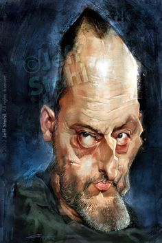 "CARICATURAS DE FAMOSOS: ""Jean Reno"" por Jeff Stahl.       For more great pins go to @KaseyBelleFox"