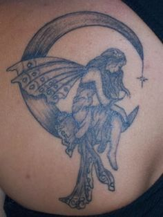 woman sitting on crescent moon without the wings...