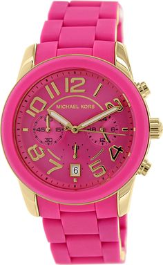 Michael Kors Women's MK5890 Chronograph Mercer Pink Silicone Chronograph Watch