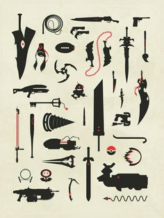 Video Game Weapons Gaming Swords Guns Collage Print Poster - Video Games - Ideas of Video Games - Video Game Weapons Gaming Swords Guns Collage Print Poster Anime Weapons, Fantasy Weapons, Gaming Tattoo, Video X, Weapon Concept Art, Video Game Art, Video Game Swords, Pixel Art, Videogames