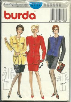 Burda 4717 Misses Slim Skirt and Jacket Top Pattern, Size 10-20/ 36-46, Uncut by DawnsDesignBoutique on Etsy