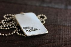Fck Cancer Allergy Alert Custom Name Dog Tag on by RUSTICBRAND, $22.00