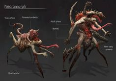 Necromorph concept Dark Creatures, Weird Creatures, Mythical Creatures, Alien Concept Art, Creature Concept Art, Character Concept, Character Art, Character Design, Fantasy Monster