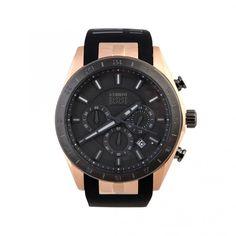 Mens Watch CERRUTI CRA095F229G Chrono Black Dial & Leather Date Tachymeter