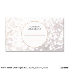 White Bokeh Gold Sequin Hair Salon Appointment Double-Sided Standard Business Cards (Pack Of 100)   Zazzle