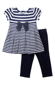 Nautical Dress and Leggings Little Kid Fashion, Toddler Fashion, Kids Fashion, Baby Clothes Patterns, Cute Baby Clothes, Nautical Dress, Little Girl Dresses, Girls Dresses, Kids Outfits