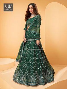 Rs11,100.00 Green Lehenga, Net Lehenga, Lehenga Blouse, Lehenga Choli, Wedding Lehenga Online, Net Blouses, Indian Wedding Wear, Lehenga Collection, Green Fashion