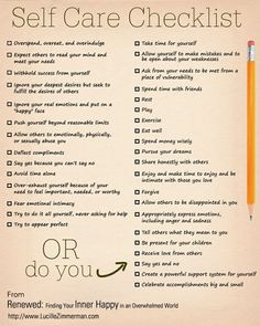 Image of a self-care checklist, divided into 2 columns.  Column on the left details activities that are harmful or negative, and the right column outlines positive, self-care activities one can undertake to be healthy.
