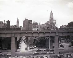 Looking south into the downtown area, from the area of Calvert and the Orleans Street Viaduct. (Circa 1950's)