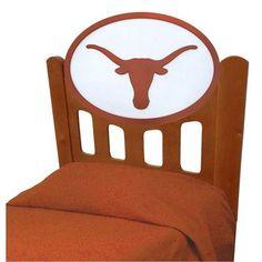 Fan Creations NCAA Slat Headboard NCAA Team: Texas, Finish: Stained, Size: Full