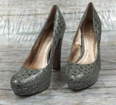 BCBGeneration BCBG Platform Heels Womens Size 9 B Gray Animal Print Shoes #BCBGeneration #PlatformsWedges