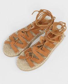 Sandales plates style spartiates marron