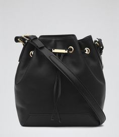 Reiss Maya TOGGLE LEATHER BUCKET BAG | sheerluxe.com