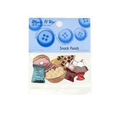 Dress It Up Embellishment Buttons  Snack Food from @fabricdotcom  These novelty embellishment buttons are the perfect finishing touch to apparel and craft projects.  Buttons feature a shank attachment, however, the doughnut and the slice of pizza do not feature a hole or shank attachement. They must be glued to your project. Package contains at least 7 pieces.  Please purchase sufficient amounts as design may vary in the package.