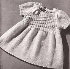 VNTG Knitting PATTERN Toddler Coat Hat Dress Smocking