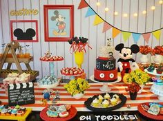 Minie Mouse Party, Minnie Mouse First Birthday, Mickey Mouse Clubhouse Birthday, Baby 1st Birthday, Mickey Mouse Birthday, Boy Birthday Parties, Mickey Mouse E Amigos, Fiesta Mickey Mouse, Mickey Y Minnie