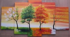 5103 handpainted 5 piece modern abstract oil paintings on canvas wall art 4 season tree pictures for living room home decoration $56.00