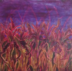 """Forbidden Fields - Twilight in the Corn by Karen Woodbury    Acrylic on Canvas  35.5"""" x 35.5""""   Copyright 2016 all rights reserved"""
